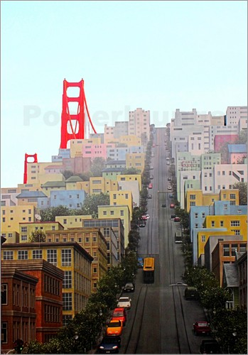 john morris san francisco and golden gate bridgee poster. Black Bedroom Furniture Sets. Home Design Ideas