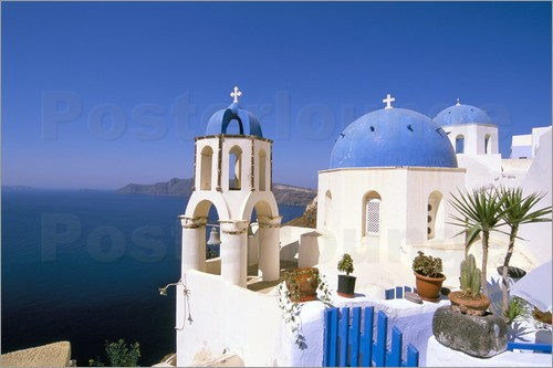 Poster Oia (Ia), island of Santorini (Thira), Cyclades Islands, Aegean, Greek Islands, Greece, Europe