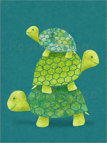 Stacked Green Turtles family kid art illustration Postcard