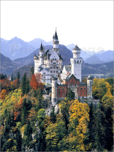 Ric Ergenbright - Neuschwanstein castle surrounded by colorful autumn trees