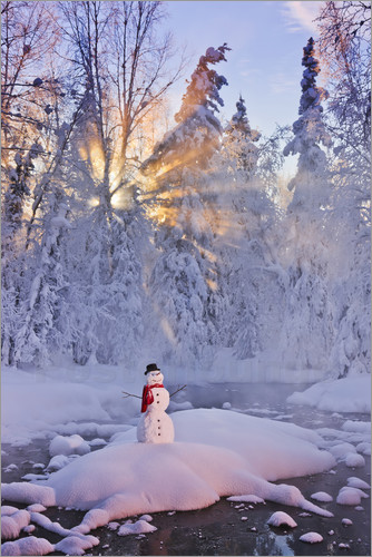 Poster Snowman on a wintry creek