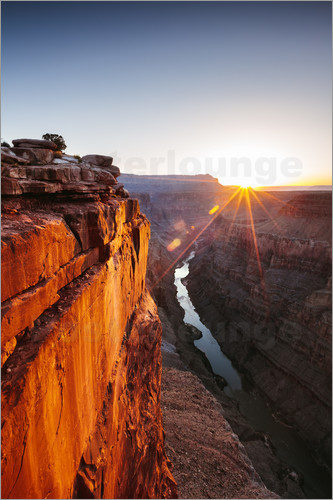 Poster Beautiful sunrise on Grand Canyon and river Colorado, USA