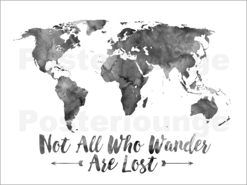 Mod Pop Deco - Black Watercolor World Map
