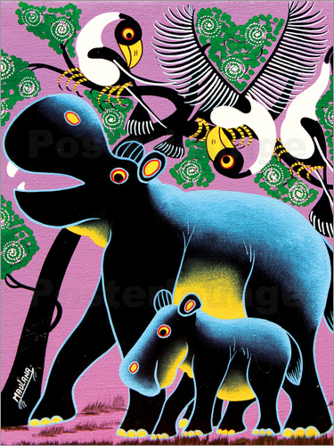 Poster Black Hippo Mother and Child