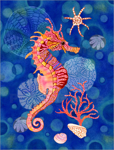 Poster Seahorse in the blue