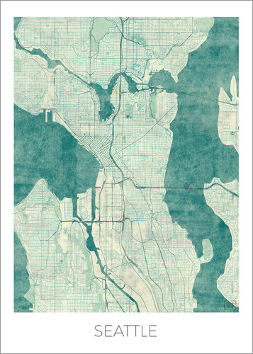 Poster Seattle Map Blue