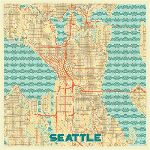 Poster Seattle Map Retro
