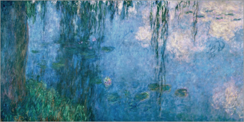 Poster Lily pond with Weeping Willow