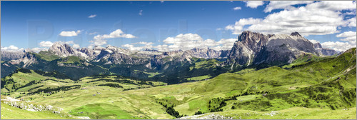 Poster Seiser Alm panoramic view, South Tyrol