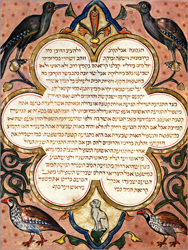 Joseph Asarfati - Page from a Hebrew Bible with birds