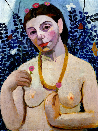 Paula Modersohn-Becker - Self portrait as semi-nude with amber necklace