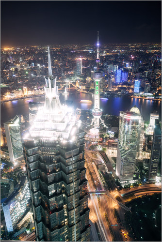 Poster Shanghai city from the top, illuminated at night, China