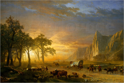 Albert Bierstadt - Wagon Train on the Prairie