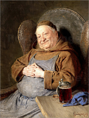 Eduard Grützner - Sitting monk with tankards