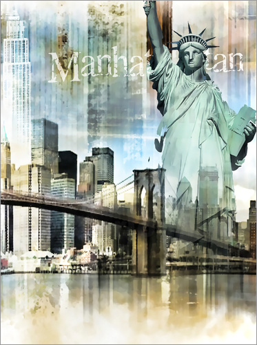 Poster Skyline Manhattan, New York Fraktal