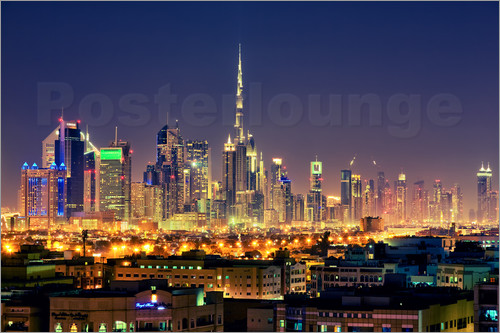 Poster Dubai skyline at night