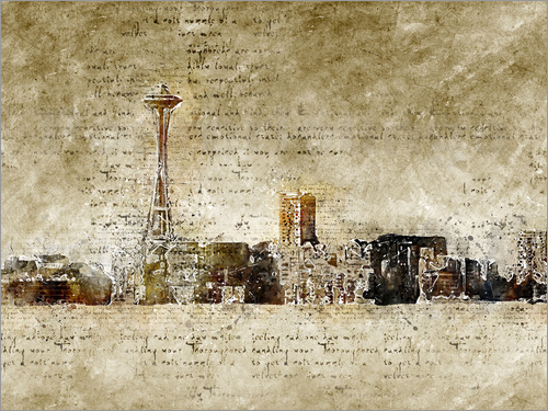 Poster Seattle skyline in modern abstract vintage look