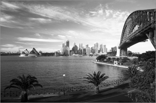 Poster Sydney skyline with views of the Opera House and the Sydney Harbour Bridge