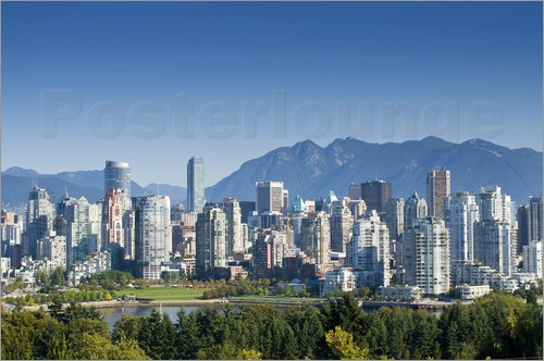 Poster Skyline of Vancouver with mountains on the horizon