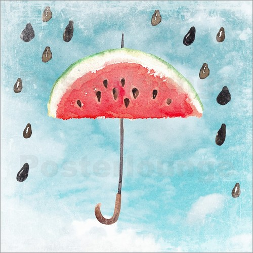 Poster Summery fruity melon rain
