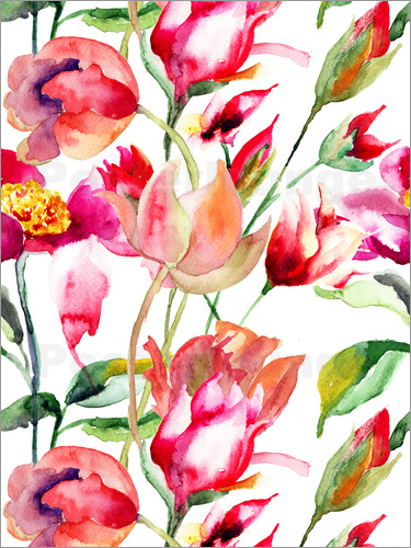 Poster Summer flowers in watercolor