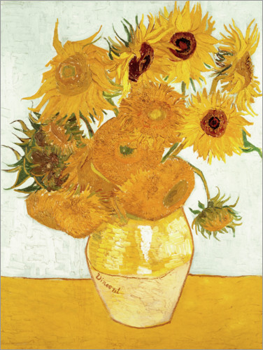 Poster Vase with Sunflowers