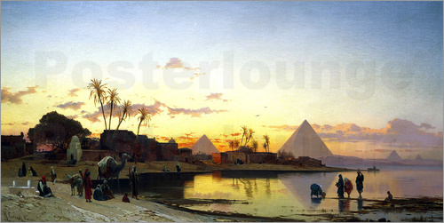 Hermann David Salomon Corrodi - Sonnenuntergang am Nil, Kairo.