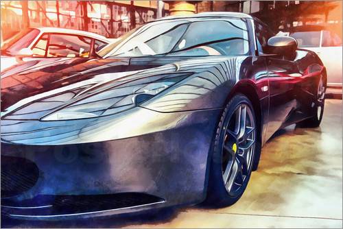 Sports car with reflecting surface