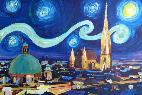 Poster Starry Night in Vienna Austria   Saint Stephan Cathedral Van Gogh Inspirations