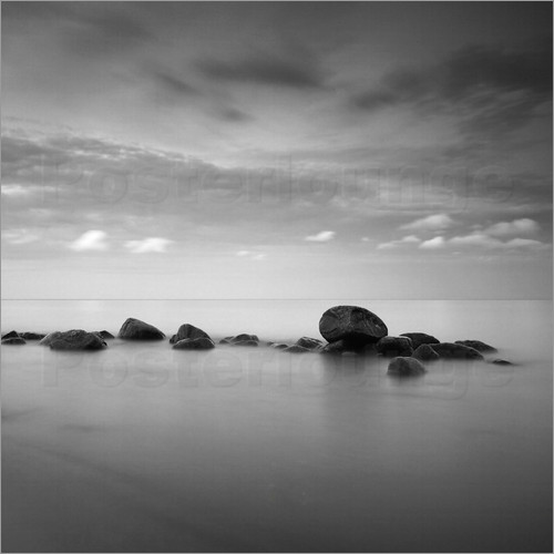 Frank Herrmann - Stones on the sea beach - black and white