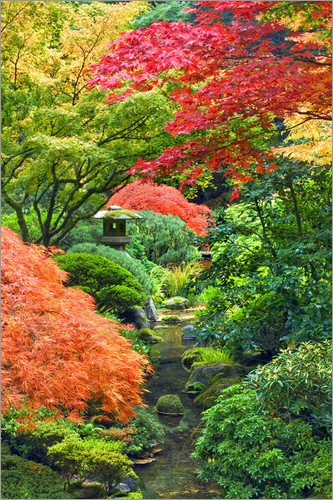 Don Paulson - Stone tower with adjoining pond and maple trees in japanese garden