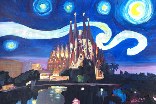 Poster Starry Night in Barcelona   Van Gogh Inspirations with Sagrada Familia