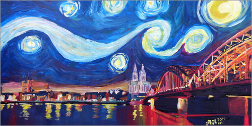 Poster Starry Night in Cologne - Van Gogh inspirations on Rhine with Cathedral and Hohenzollern Bridge