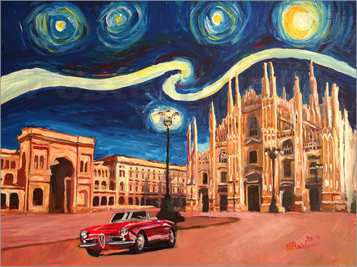 Poster Starry Night in Milan Italy Oldtimer and Cathedral