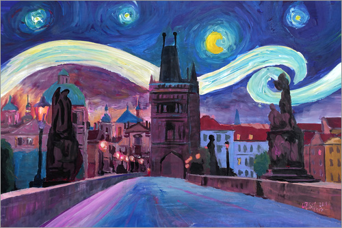 Poster Starry Night in Prague   Van Gogh Inspirations on Charles Bridge in Czech Republic
