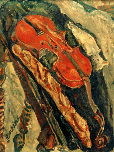 Chaim Soutine - Nature morte au violon, pain et poisson