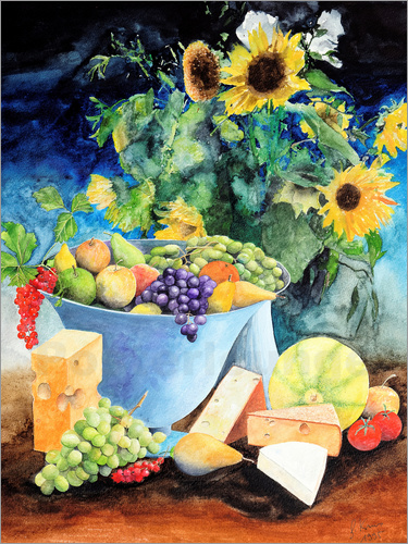 Gerhard Kraus - Still life with sunflowers, fruits and cheese