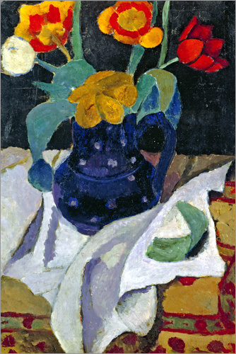 Paula Modersohn-Becker - Still life with tulips in a blue pot