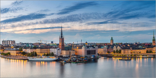 Poster Stockholm evening panorama