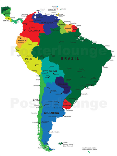 South america political map posterlounge envo gratis pster south america political map gumiabroncs Image collections
