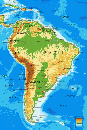 South America Topographic Map Poster Posterlounge - North america topographic map