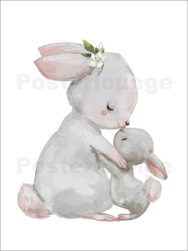 Poster Cute white bunnies - mother with child