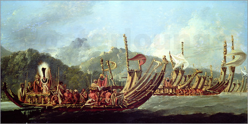 William Hodges - Tahitian War Canoes. In 1774 James Cook Witnessed a Review of the Fleet Consisting of 160 Big War Ca