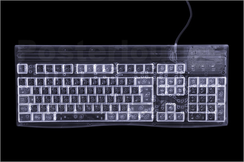 Poster Computer keyboard, simulated X-ray