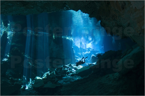 Poster Diver in a cave, Riviera Maya