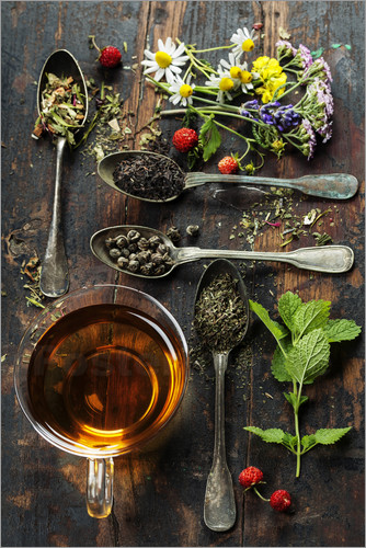Poster Tea with honey, wild berries and flowers