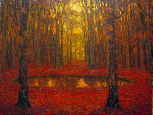 Henri Le Sidaner - The Pond at Versailles in Autumn