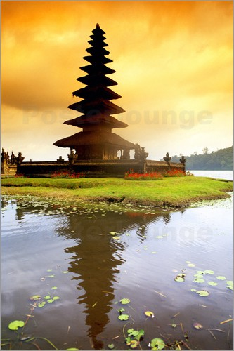 Bill Bachmann - Temple in Bali with reflection in the water, Indonesia