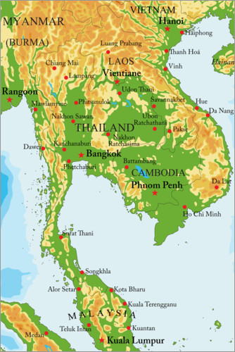Poster Thailand - map
