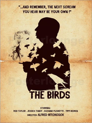 Poster The birds movie inspired hitchcock silhouette art print